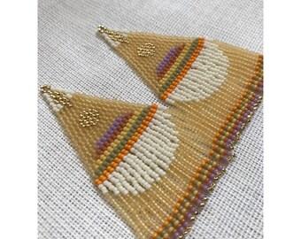 BOOGIE DOWN 1970s danglers • beadwork • seed bead jewelry • hippie • boho earrings• orange jewelry • gifts for her