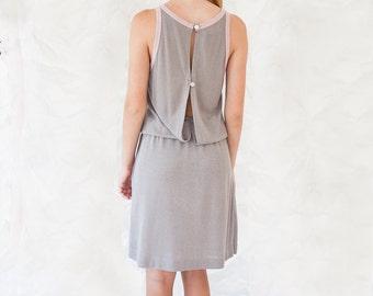 Grey silver Dress - Sleeveless Dress - Party Dress - Open Back Dress - Silver Grey and Pink sparkle Dress - Evening summer Dress