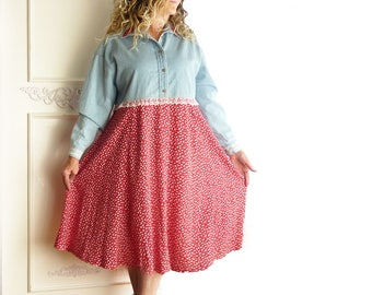 Midi Prairie dress, Upcycled clothing, country chic, light blue denim, long sleeve, red floral print, farm girl, indie dress, one of a kind