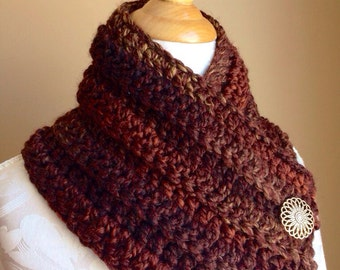 Crochet scarf/ Warm, soft, and cozy scart with 2 large buttons