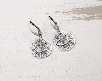 Antiqued Silver Ox Sand Dollar Earrings - Boho Beach Jewelry - Ocean Lever Back Earrings