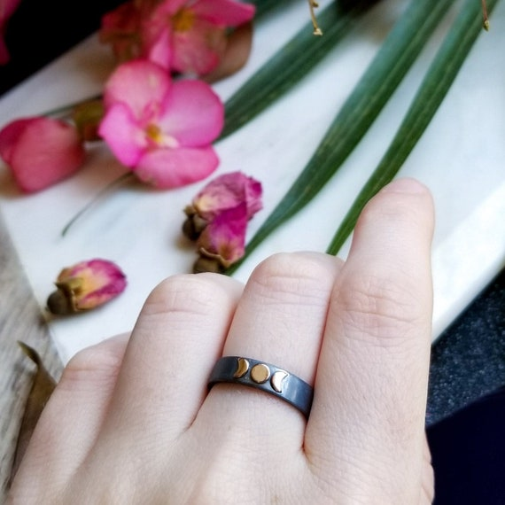 Rose Gold Boho Moon Ring, Moon Goddess, Triple Goddess, Lunar Phases, Crescent, Everyday Jewelry, Gypsy, Goth, Sun and Stars, Celestial Ring