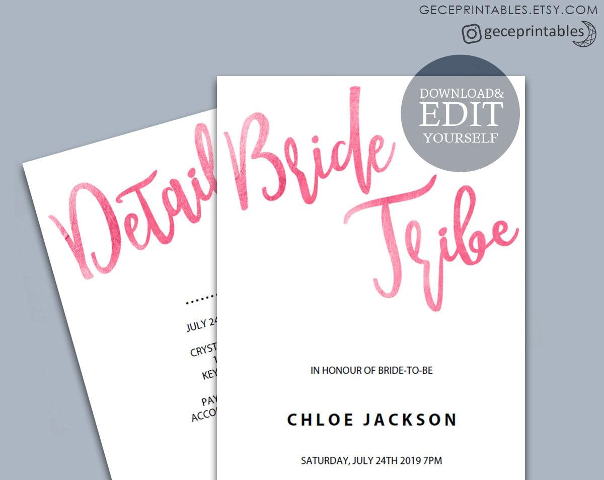 Bachelorette party invitation printable bride tribe zoom solutioingenieria Choice Image