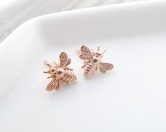 Rose Gold Bee earrings  Bee Jewelry  Bumble Bee Studs Bee Studs Bumble Bee Earrings Bee Stud Earrings Bumble Bee Stud Earrings