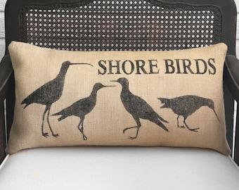 Shore Birds  - Burlap Pillow - Coastal Beach Decor - Sandpiper Pillow - Seabird Pillow - Snipe, Curlew, Yellow Legs, and Plover