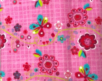 Pink Floral Butterfly Flannel Fabric - 1 yard x 40 inches