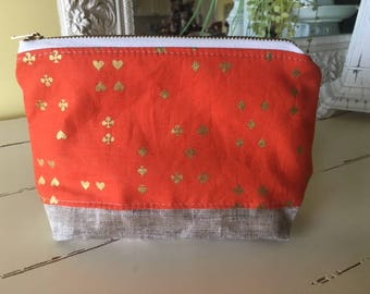 Zippered Pouch Rifle Paper Co. Fabric  Waxed Linen Canvas Base  Gadget Cosmetic Bag Phone Purse organizer  Wonderland Orange Gold