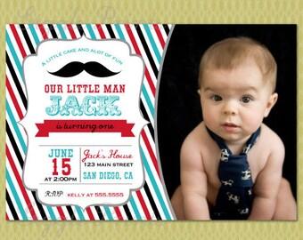 Little man Mustache Invitation, Little Man Birthday invitations, Mastache Invitation, Digital file