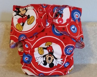 Fitted Preemie Newborn Cloth Diaper- 4 to 9 pounds- Mickey Mouse- 16012