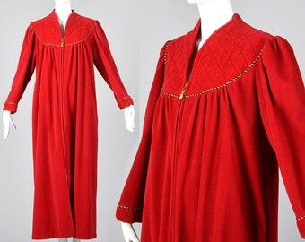 XXL Vanity Fair Red Velour Robe Zip Front Loungewear Loose Fit Long Housecoat Vintage 1980s Robe