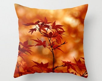 Maple Magic, Fall Color, Autumn Colours, Warm Home Decor, Maple Leaves, Soft Brown Throw Pillow, Fall Cushion Cover, Photo Art Pillow, Rust