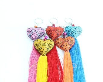 Mixed Colors 5 Pcs Embroidered Heart Keychain With Tassel