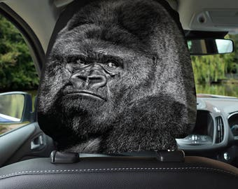 Ape Monkey Face Design Car Seat Headrest Cover 2 Pack Made In Yorkshire
