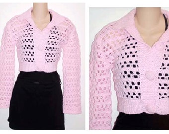 Pink Button Cardigan Shrug  Crochet Sweater Pattern pdf