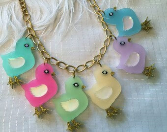 Pastel chicks Easter Charm Necklace, Laser Cut Acrylic, Plastic Jewelry