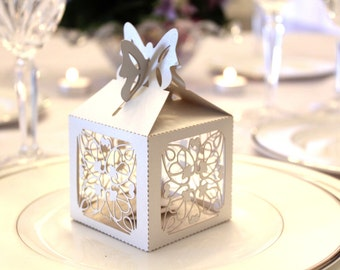 Set of 40 - Laser Cut Delicate Flower Butterfly Shimmery Cream Wedding Favor Box Shabby Chic - Great for Showers and Weddings!