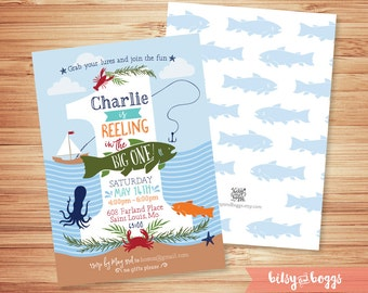 Reeling in the Big ONE // Fishing First Birthday Invite // Fishing ONE // 1st Birthday // Printable Invite