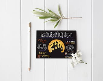 Halloween Party Invitation- Nightmare on our Street- Costume Party- Birthday Party- Boy or Girl- Haunted House- Bats - Print Yourself