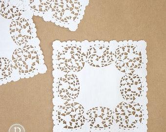"8"" Lace White Square Paper Doilies"