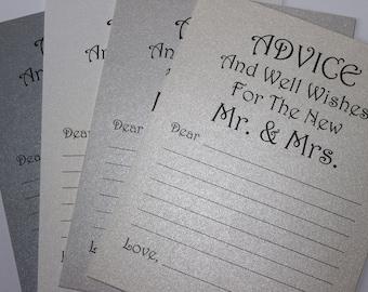 Set of 20 Advice Card - Wedding Wish Card - Wedding Advice Wedding Wishes - Bridal Shower -  Bride and Groom Mr. & Mrs. Wish Card Wish Tag