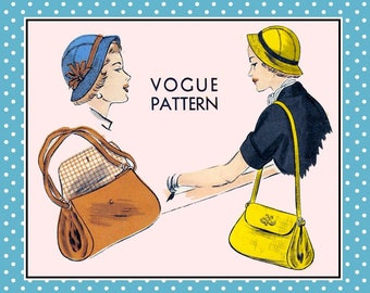 Vintage 1950-EURO CHIC-Vogue Sewing Pattern-Brimmed Sectional Cloche Hat-Matching Shoulder Bag-Flap-Ring Detail-Lined-Size 22.5-Mega Rare