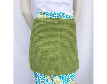 Green and turquoise hostess apron with towel