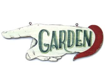 Garden Art Sign, Hand Painted Rustic Garden Decor, Retro Vintage Sign