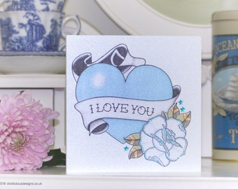 True blue love heart tattoo handmade Valentine's Day card