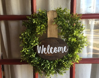 NEW ITEM**, Welcome wreath, door wreath, fixer upper, rustic, faux greenery wreath