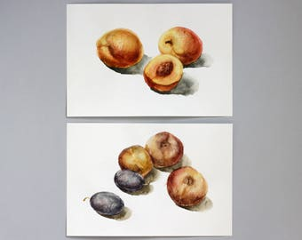Diptych art Plums Peaches Watercolor painting, Original kitchen diptych painting, Fruit watercolor Art 9 x 12 original art watercolor food