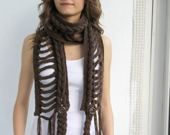 Brown Wool  Scarf with Brown Button Mothers Day  gift  UNDER 75USD For Her