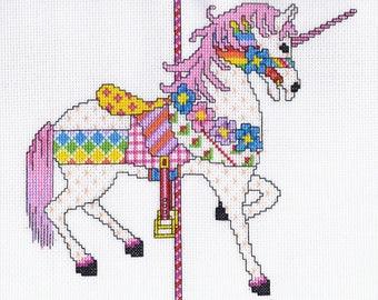 Patchwork Unicorn Cross Stitch PDF Pattern Instant Download