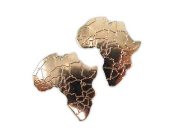 Rose Gold Plated Africa Pendants (2x) (M779-D)