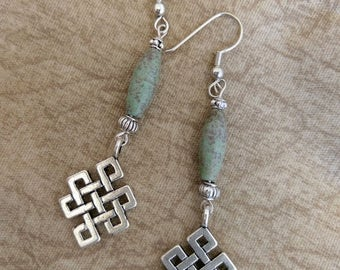 Green/Blue Magnesite Earrings with Silver Dangle