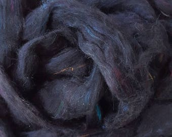 Silk Sliver 'Raven' Soft, Luxurious, Pulled / Carded Black with coloured flecks Recycled Sari Silk Fibre for Spinning etc. 250gram Bulk Pack