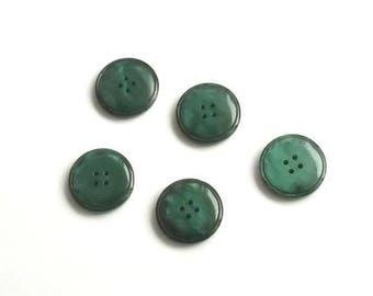 5 buttons vintage empire green 25mm round