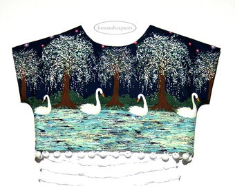 Girls swan top, crop top, Boho girls top, white swans, swan lake, girls blouse, 4t girl top, special occasion, quality handmade, for girls