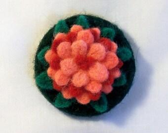 Refrigerator Magnet - Felted Flower - Pink Zinnia -  Large Magnet - Kitchen Decor - Office Decor - Needlefelt Flower - Flower Magnet