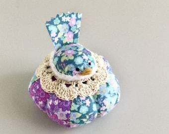 Blue and Purple Floral Bird Pincushion Cute Bird Pin Cushion Pin Cushion