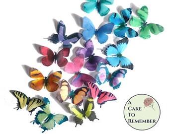 "16 cake butterflies, edible wafer paper. 2"" wide rainbow color butterflies for cupcake toppers, decoraciones de pastel de mariposa"
