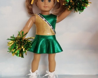 Green and Gold Cheerleader 18 inch doll clothes