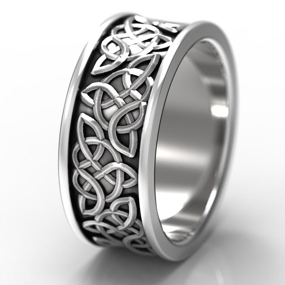 Celtic Wedding Ring With Raised Relief Knotwork Design in Sterling Silver, Made in Your Size CR-66