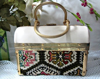 Box Purse, Vinyl and Tapestry bag, 50s Box Purse, Designer Bag