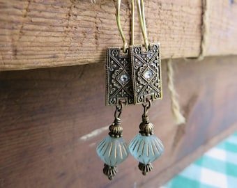 Antique Bronze and Aqua Czech Glass  Dangle Earrings with Baroque Bronze Rectangles Vintage Style (1 pair)  Your order Ships for 2.54 !