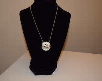 Textured Silver Disk with Rhinestones Necklace