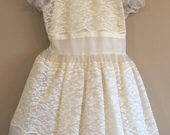 Vintage 1966 Ivory First Communion Dress and Veil