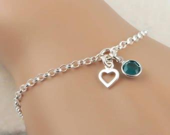 Heart and Birthstone Bracelet, sterling silver, birthstone jewelry