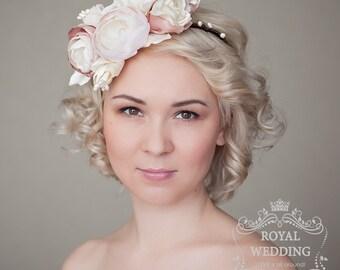 Bridal Headpiece Flower Crown Bridal Headband Wedding Headpiece Wedding Headband Blush Pink Headband Bridal Crown Ivory Headband