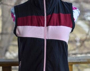 Vintage 90s Maroon Pink & Black Sleeveless Zipper Vest - Size Medium