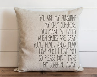 You Are My Sunshine 20 x 20 Pillow Cover // Everyday // Love // Throw Pillow // Gift // Accent // Cushion Cover